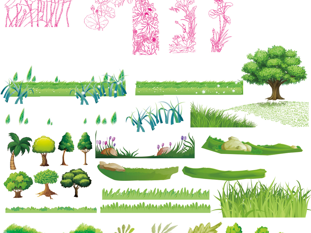 竹子简笔画彩色 边框