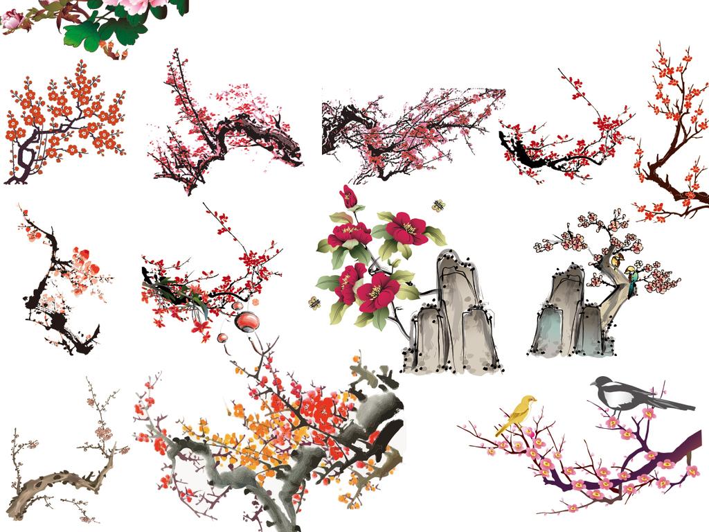 psd)手绘中国风水墨端午节竹子矢量手绘水墨水彩桃花桃树矢量手绘水墨