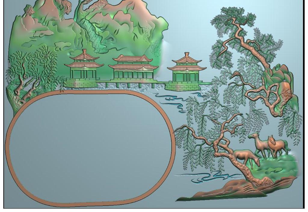 山水茶盘雕刻精雕图灰度图浮雕图jdp