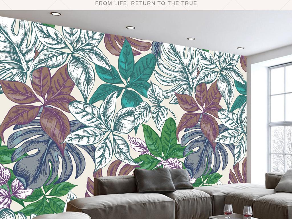 现代简约北欧手绘热带植物叶子壁画背景墙