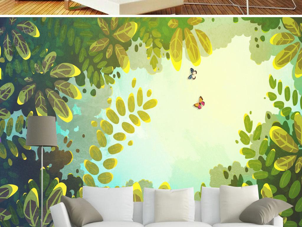 欧式欧美热带雨淋风景沙发背景墙图片