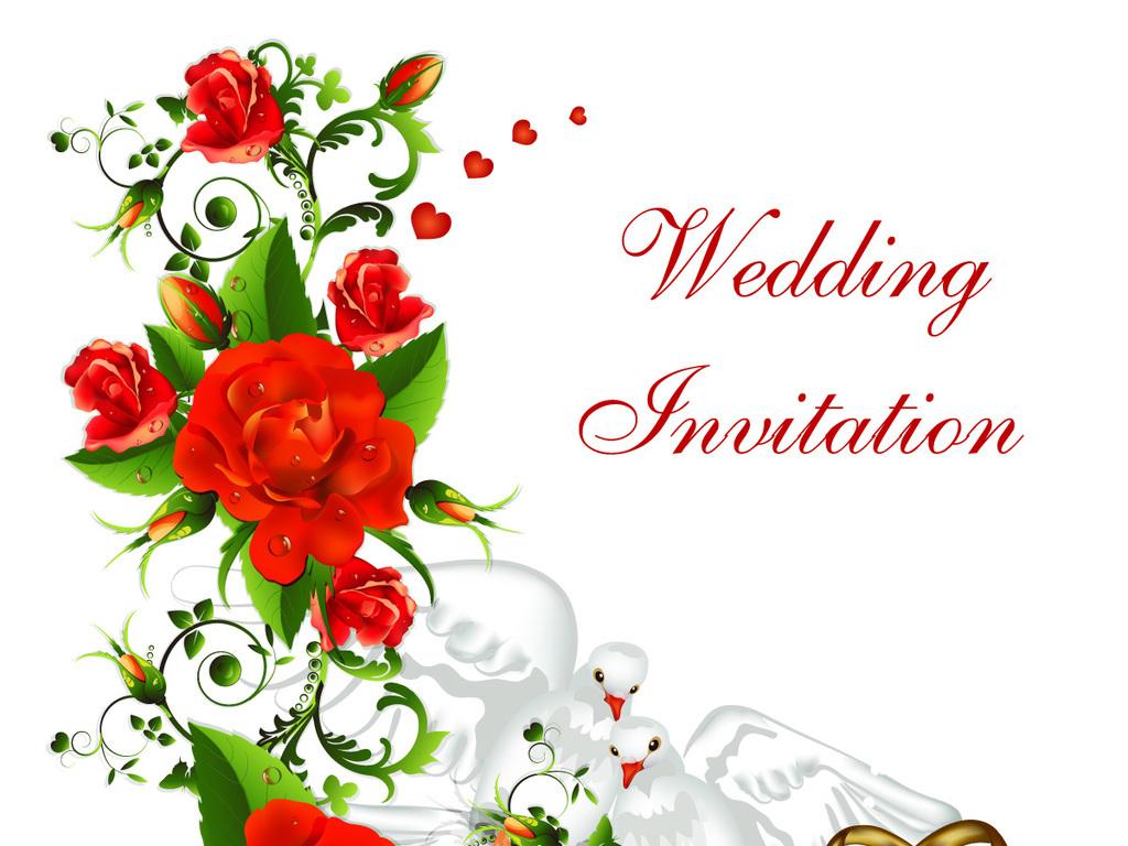 玫瑰花婚戒戒指鸽子婚礼背景挂画