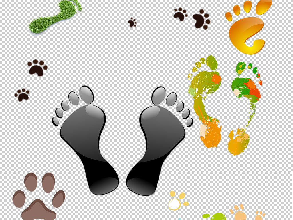 卡通动物人物脚印图片海报素材
