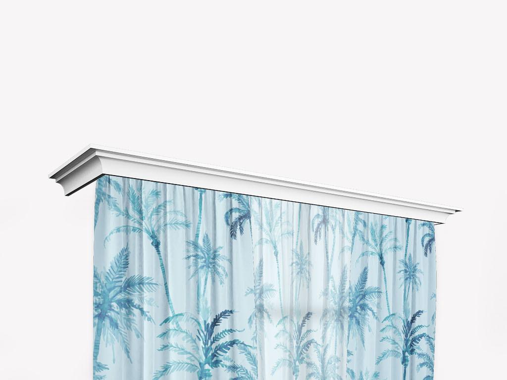 手绘水彩椰子树叶窗帘数码印花矢量图案