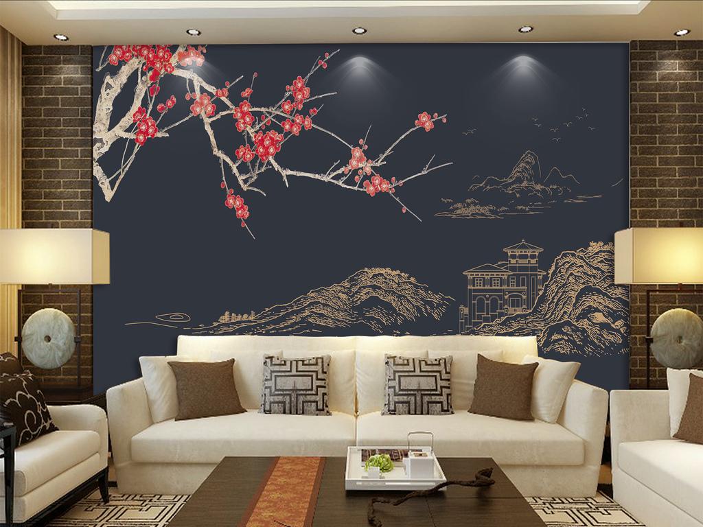 新中式手绘线描山水梅花禅境花鸟中式背景墙