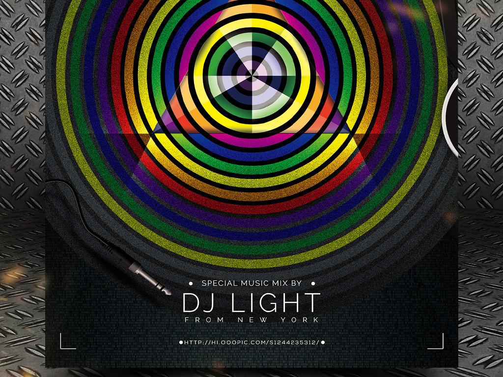平面|广告设计 海报设计 国外创意海报 > 炫彩几何动感节拍迷幻电音