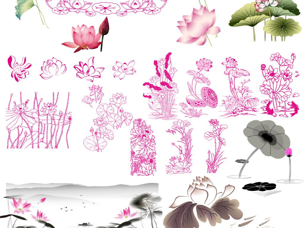 水墨水彩简笔画手绘荷花荷叶印刷矢量素材
