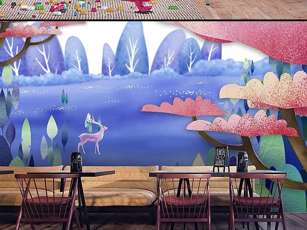 高清唯美手绘小鹿森林儿童房背景墙海报图片