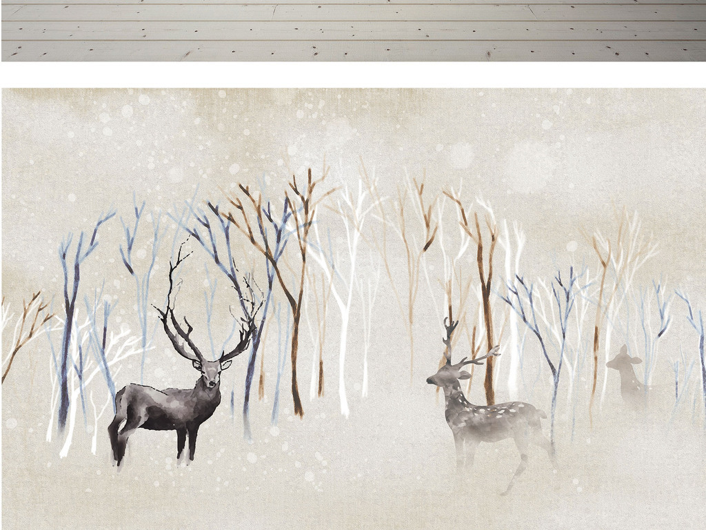 北欧宜家手绘麋鹿森林背景墙