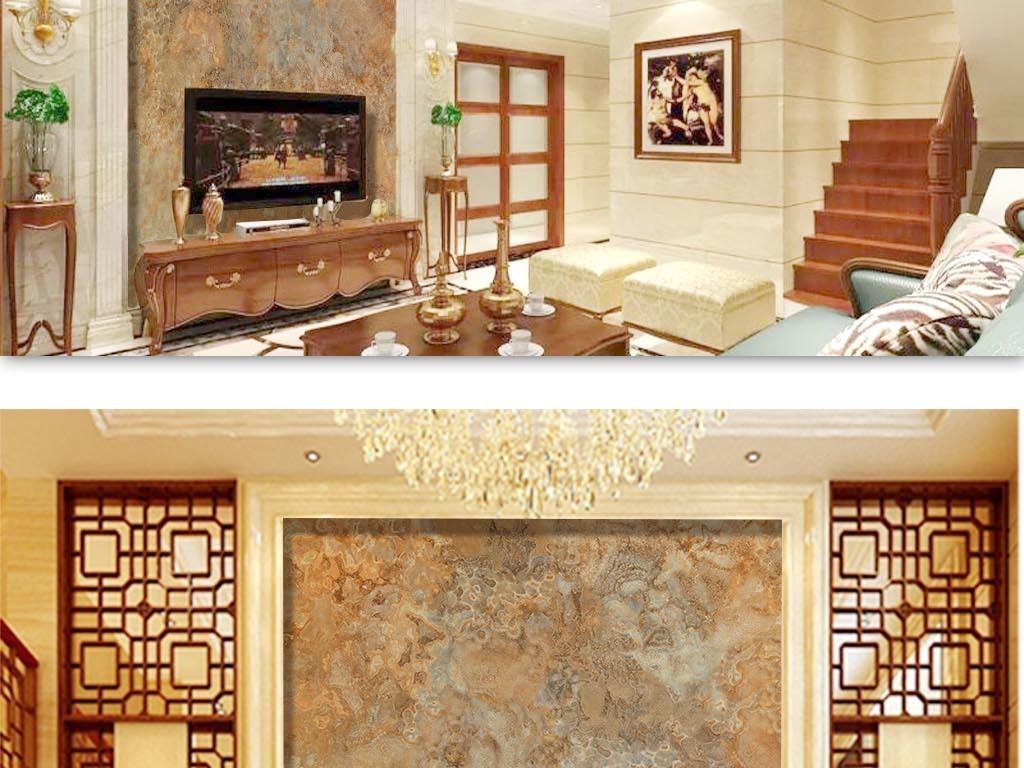 新大理石纹理复式楼电视沙发背景墙图片