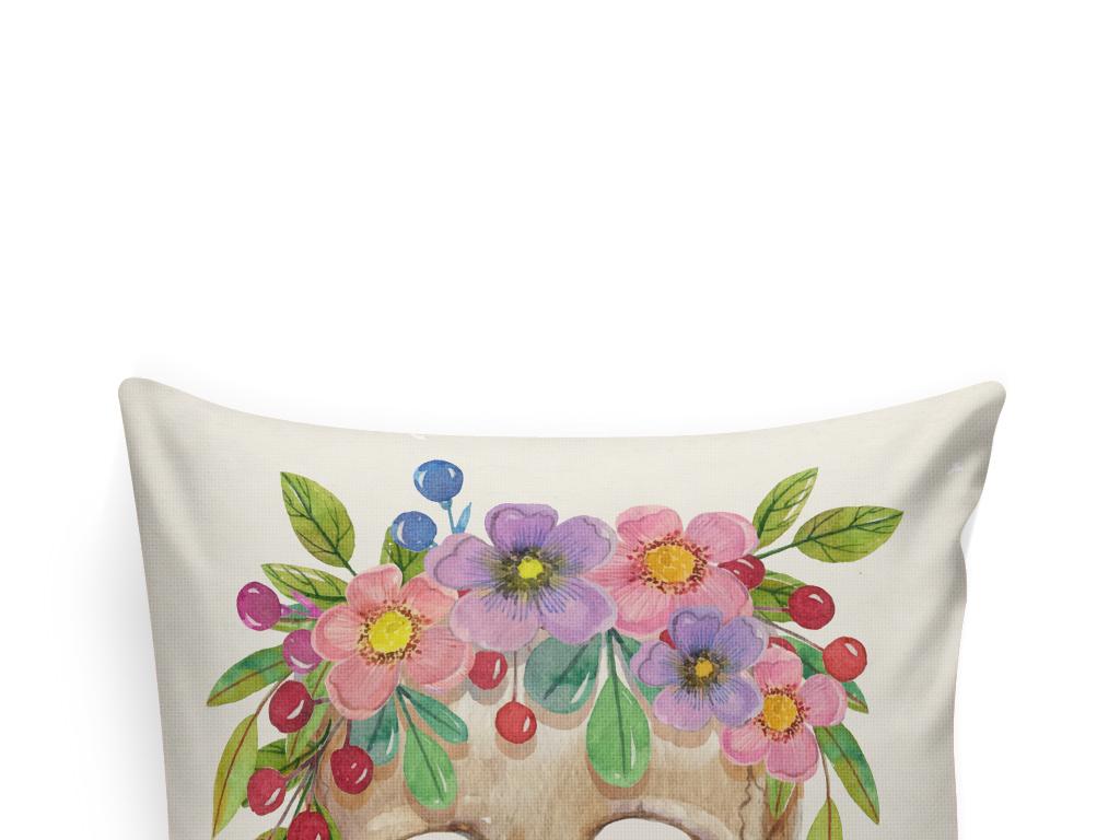 抱枕图案北欧风无框画素材水彩花卉手绘花卉植物