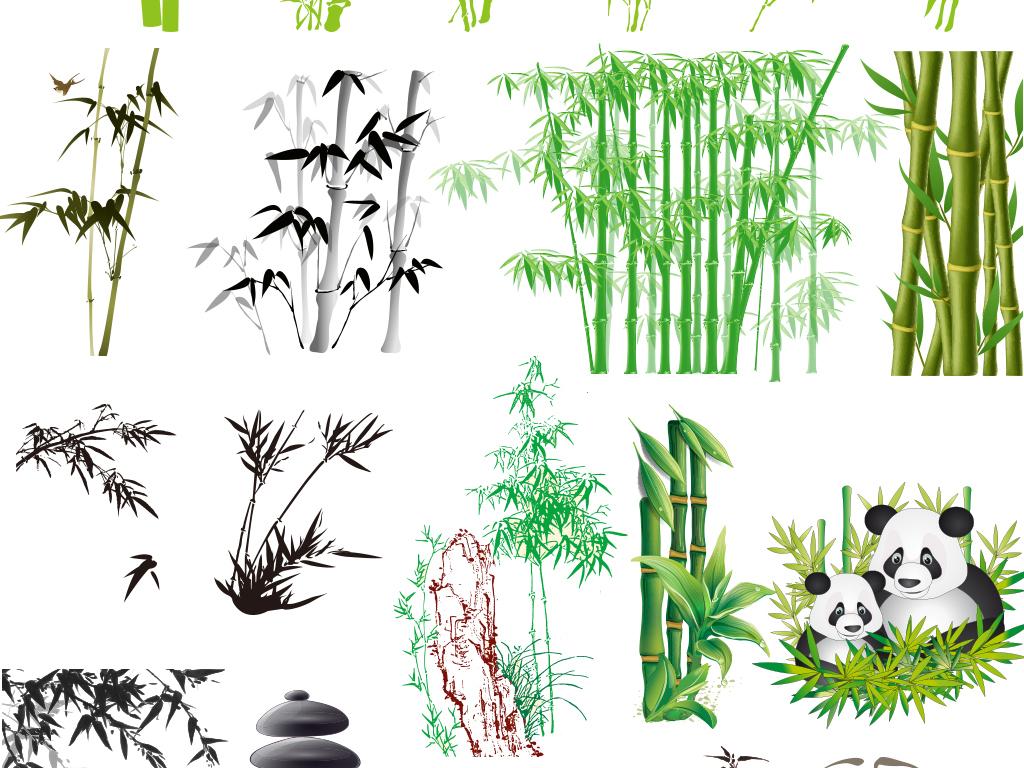 中国风水墨水彩手绘工笔写意竹子矢量素材