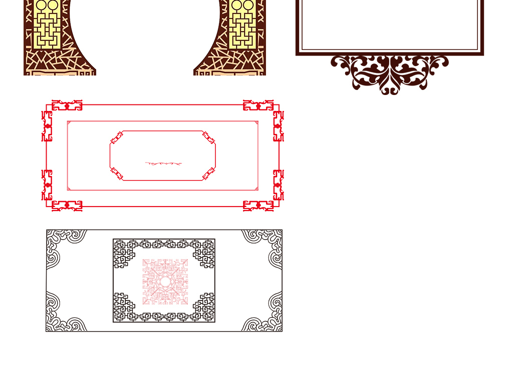 中国风古风花边花纹边框png矢量免扣素材