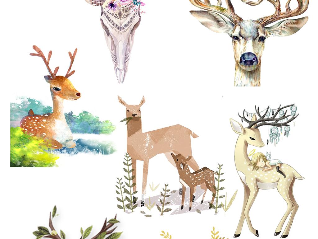 素材素材手绘卡通小鹿驯鹿鹿图片卡通鹿圣诞鹿鹿头卡通小鹿卡通驯鹿