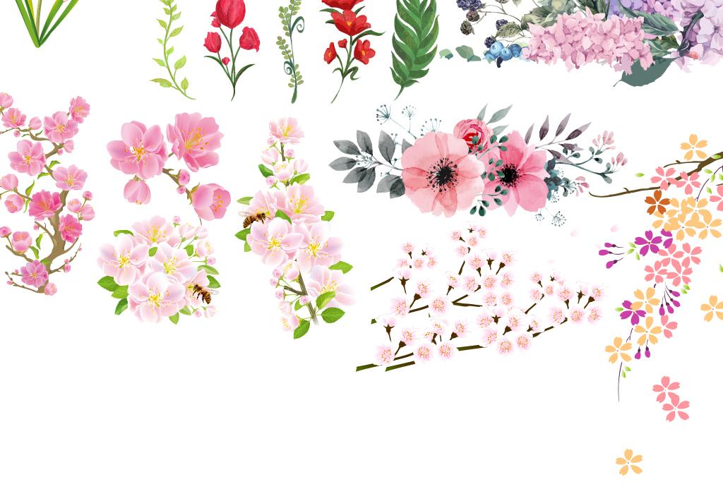 手绘水彩水墨中国风卡通桃花花卉矢量印刷