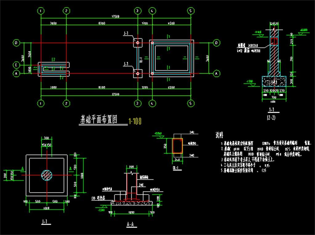 某工厂大门结构cad建筑施工图