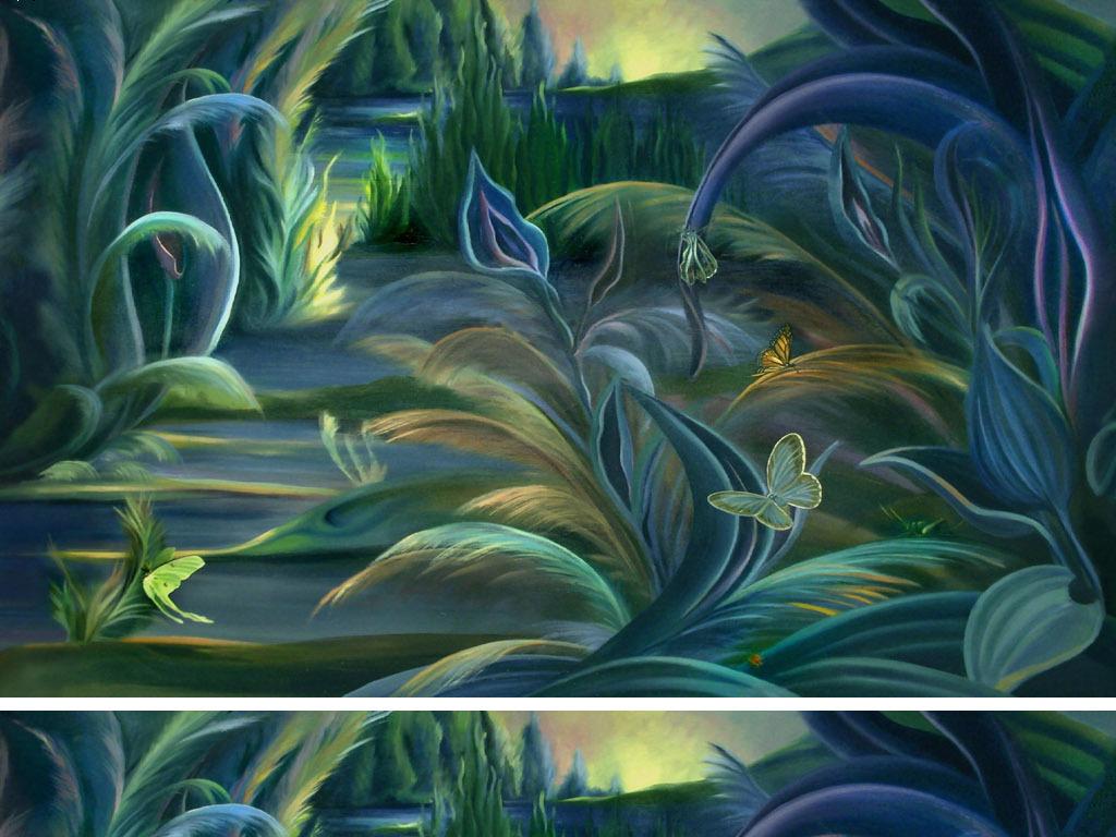 手绘高清河岸边水草绿色植物欧式艺术背景墙