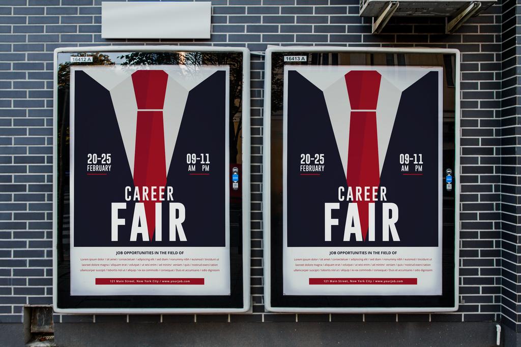 手绘简约职业博览会日宣传海报