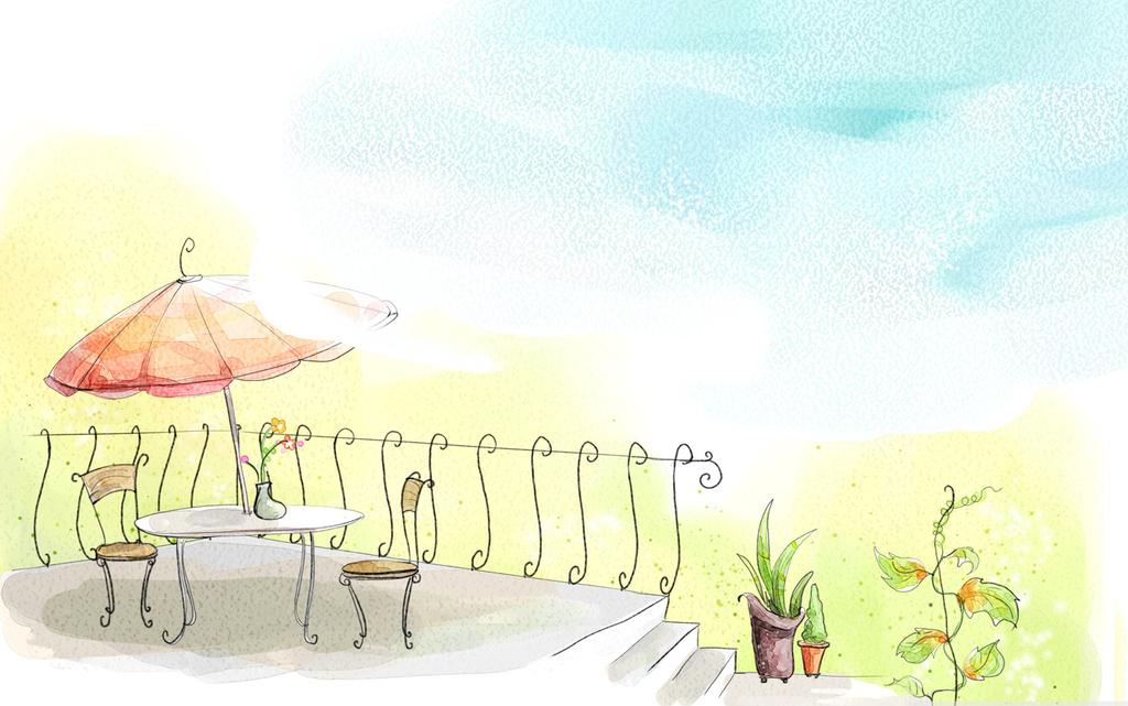 手绘简约风景挂画漫画和谐手绘风景手绘漫画颜料风景美景手绘挂画美景