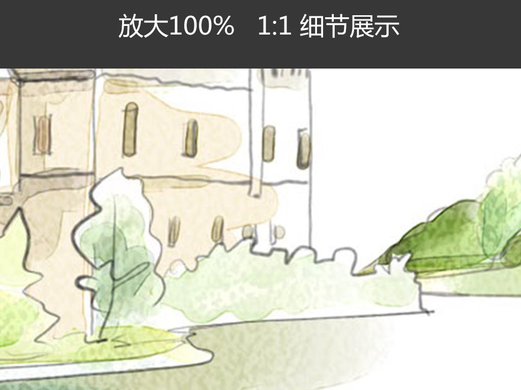 手绘风景颜料水墨简约美景温和挂画图片设计素材 高清模板下载 38.58MB 森林风景装饰画大全