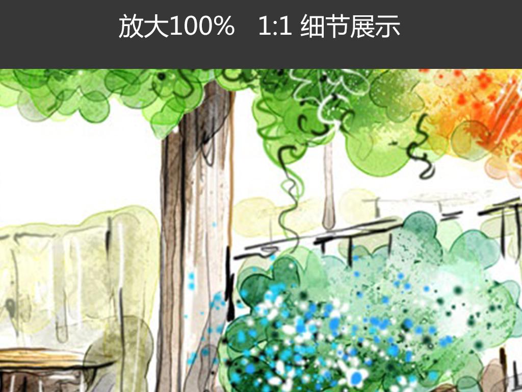 手绘颜料画风景美景简约漫画挂画图片设计素材 高清模板下载 34.12MB 风景无框画大全