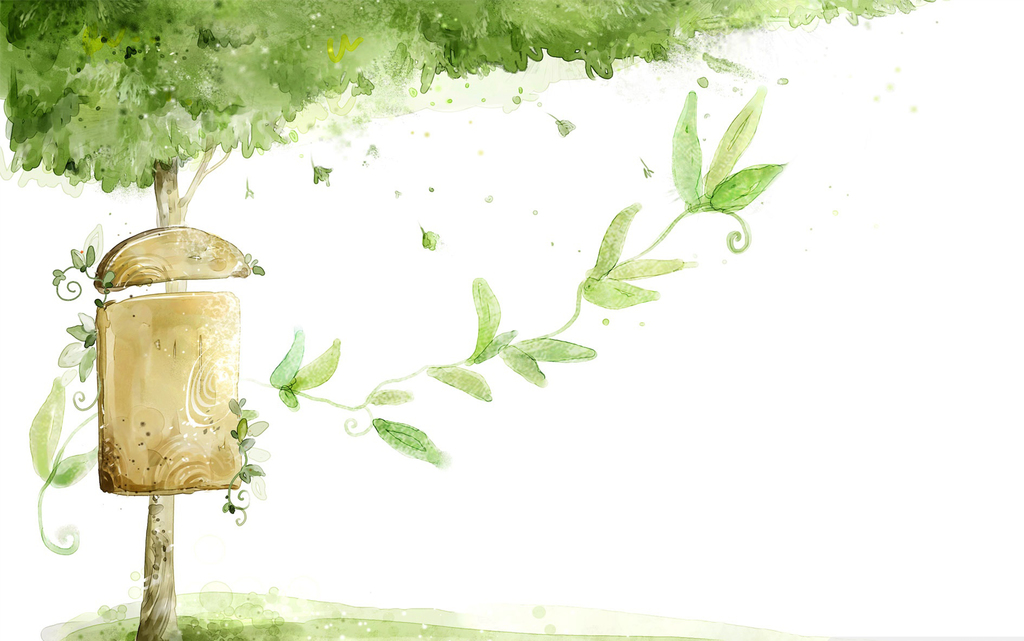 手绘漫画风景树木迎客松壁画客厅壁画幼儿园壁画壁画图片3d壁画玄关