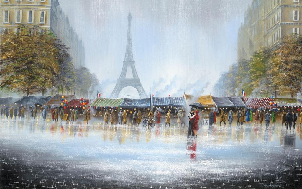 巴黎手绘风景颜料手绘巴黎铁塔手绘挂画风景挂画风景手绘迎客松壁画