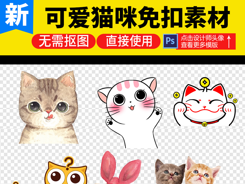 卡通猫咪小猫宠物png素材图片