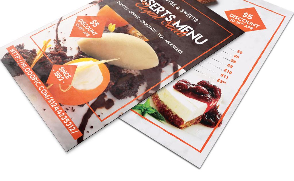 简约文艺咖啡厅甜品店新品促销菜单模板图片
