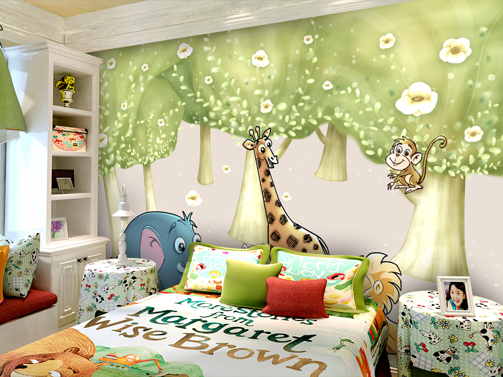 欧美手绘卡通森林动物园儿童房幼儿园背景墙
