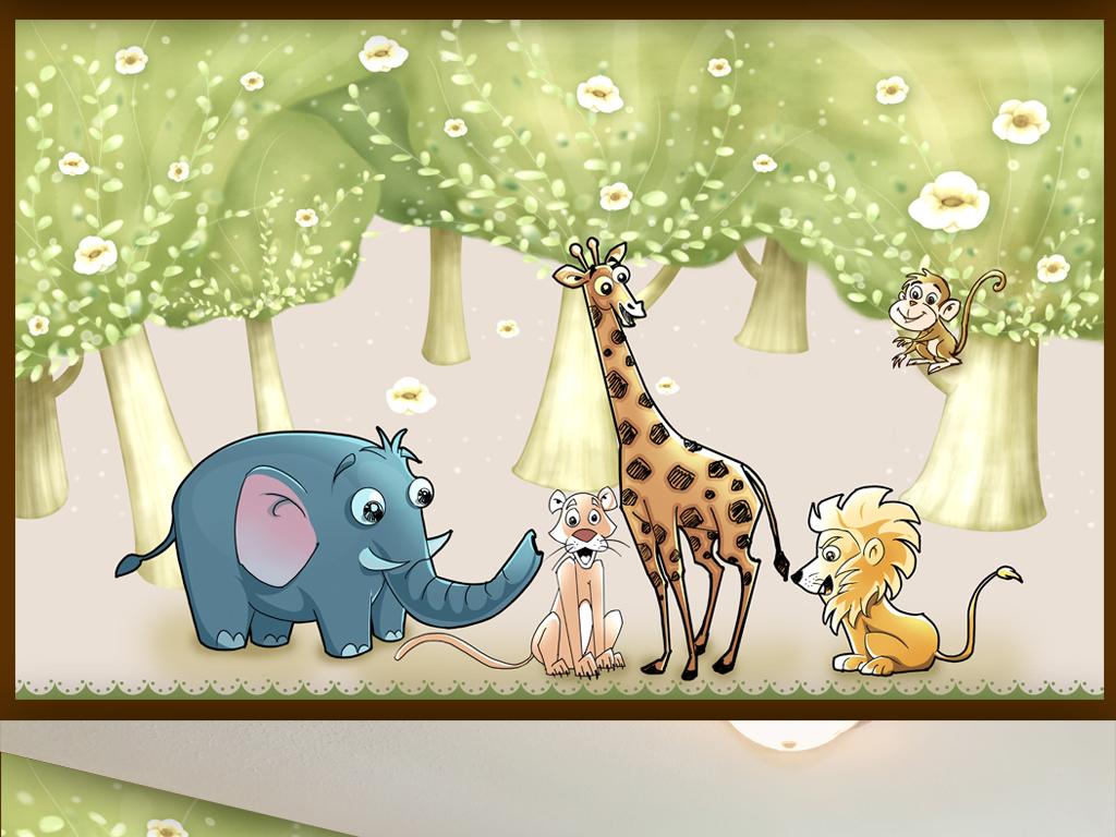 欧美手绘卡通森林动物园儿童房幼儿园背景墙 位图, rgb格式高清大图