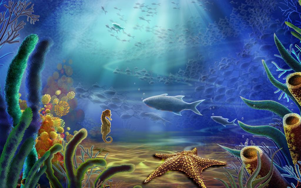 手绘设计游戏日漫欧式工装酒吧墙画颜料画水墨画深海动物鱼乌龟海马