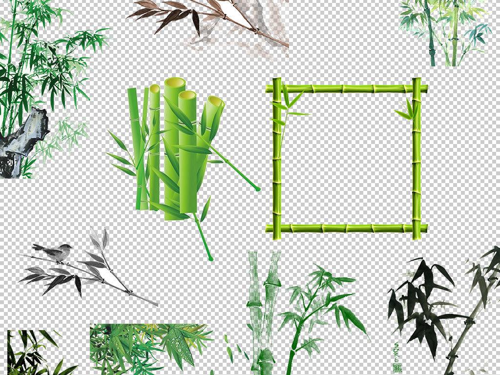 中国风竹子卡通手绘竹子水彩竹子竹叶图案树叶青竹竹子图片绿色中国