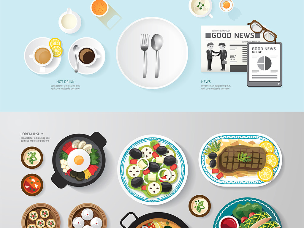 精美餐饮美食矢量插画图标合集图片