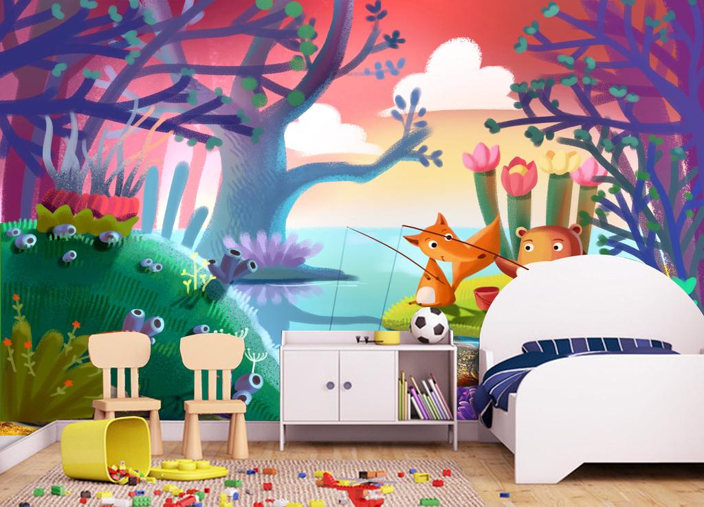 欧美手绘卡通森林背景墙