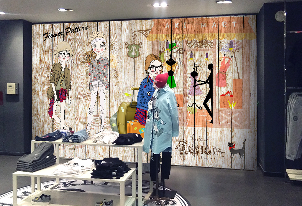 手绘复古服装店壁画背景墙装饰画
