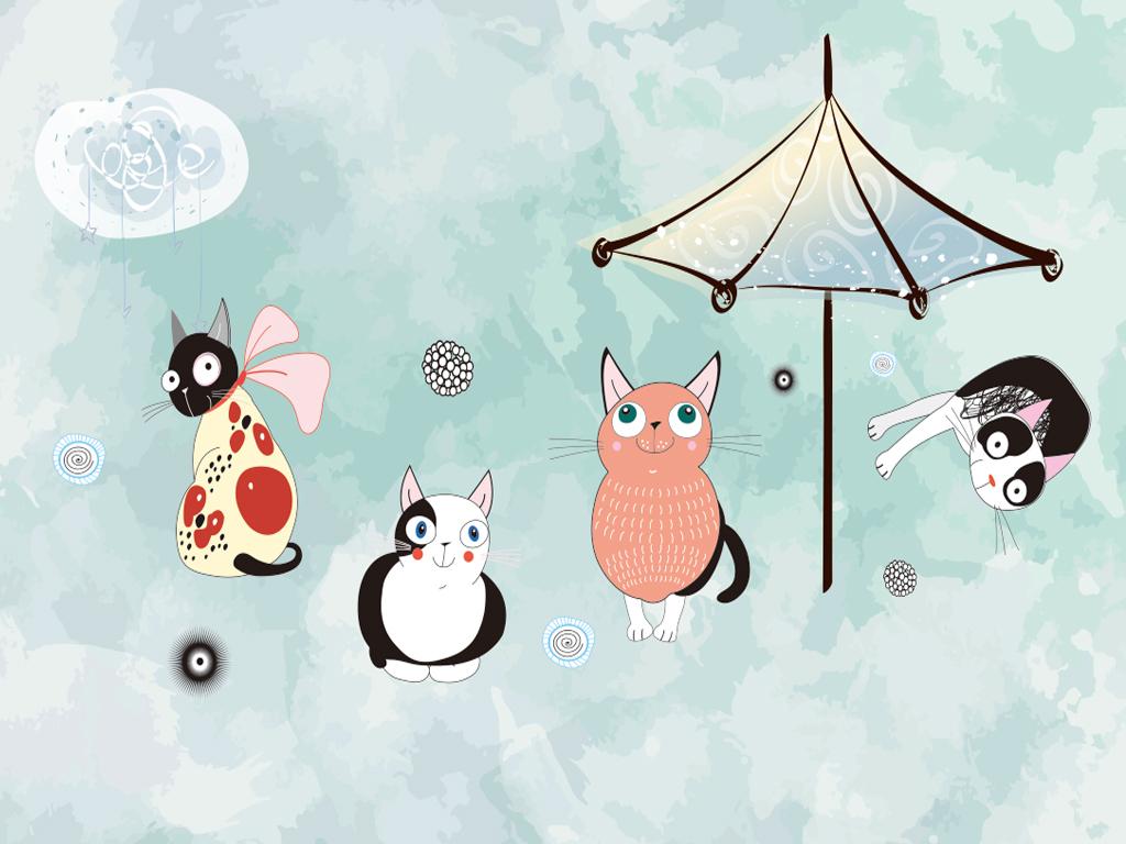手绘蓝天白云卡通猫雨伞背景墙
