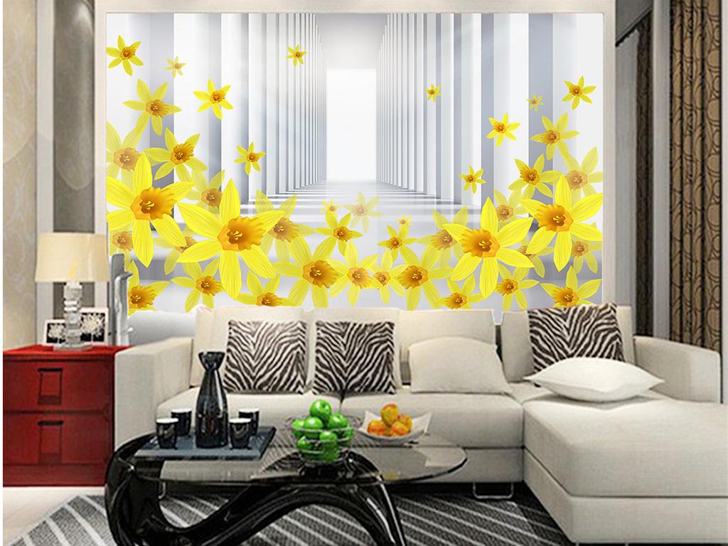 立体花朵三维空间走廊背景墙壁画图片