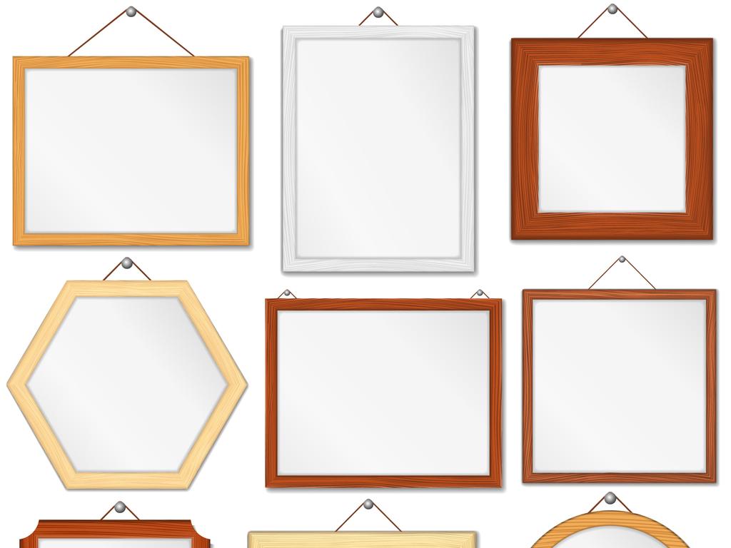 木质相框画框背景装饰海报ai矢量素材