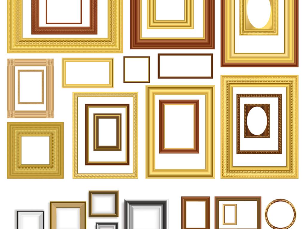 金色高档欧式古典实木边框相框背景素材