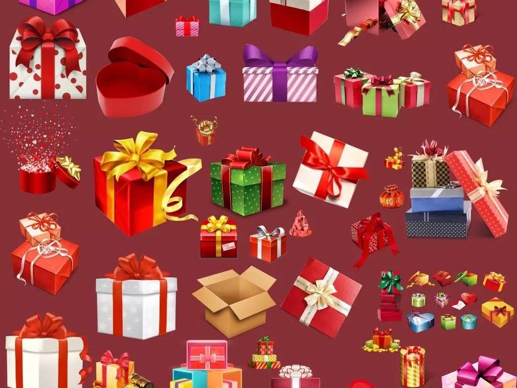 红包彩带礼品袋蝴蝶结手绘卡通礼盒卡通图片素材