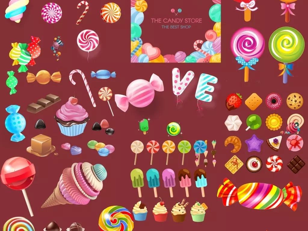 糖果蛋糕棒棒糖png素材集合