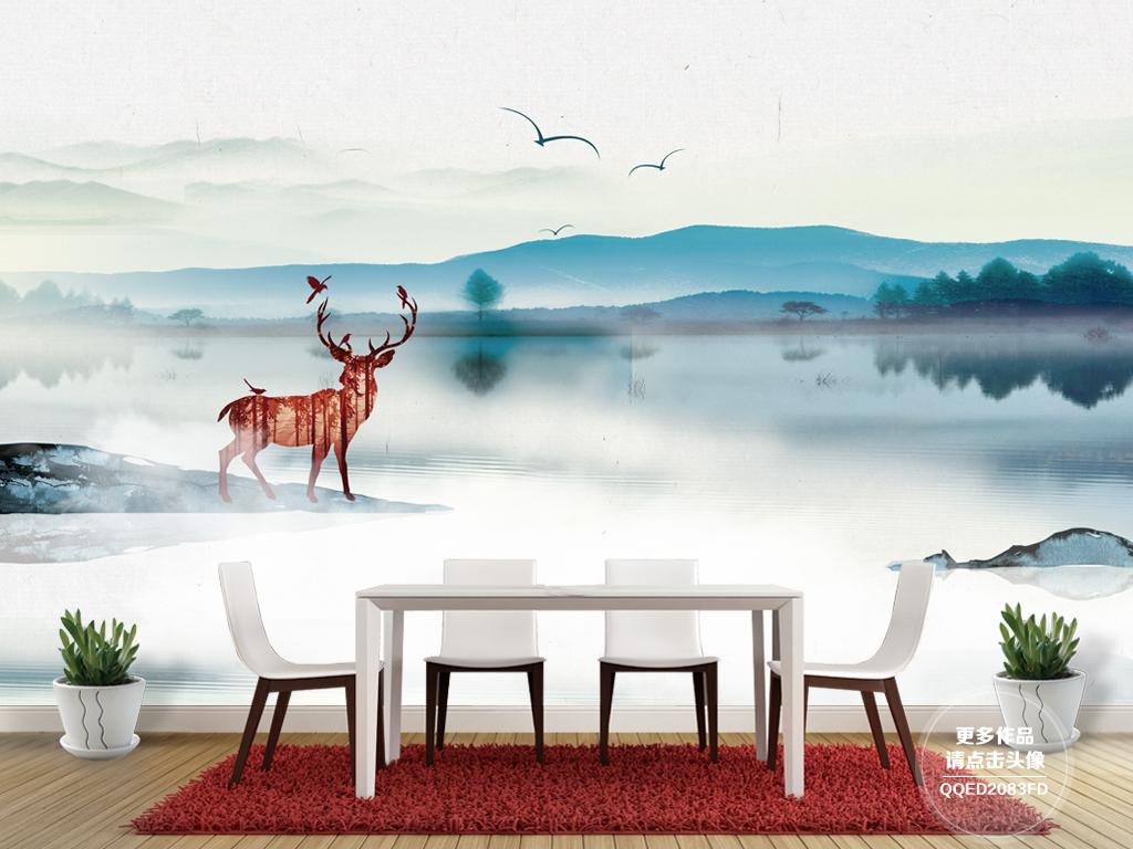 新中式抽象意境水墨手绘山水梅花鹿电视背景墙