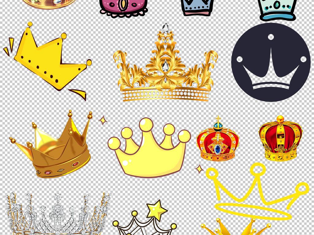 卡通手绘金色皇冠设计海报素材