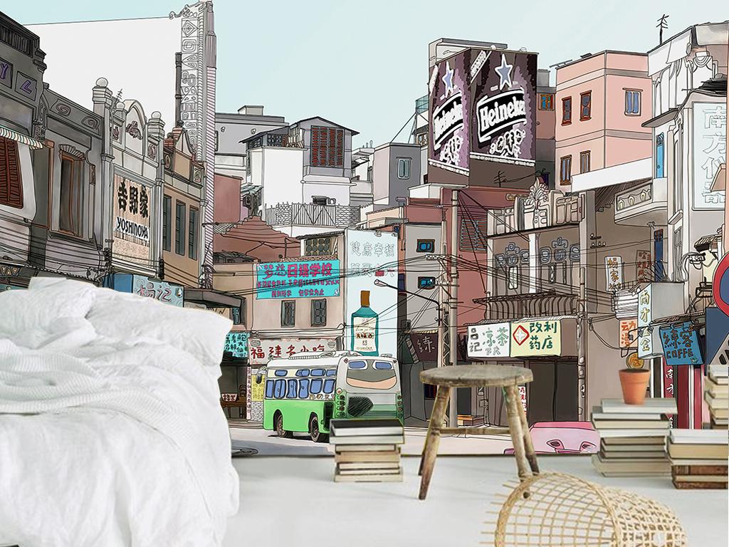 手绘老城市街道咖啡厅餐厅客厅工装背景墙