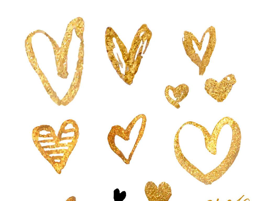 金色手绘心形爱心结婚素材婚庆背景