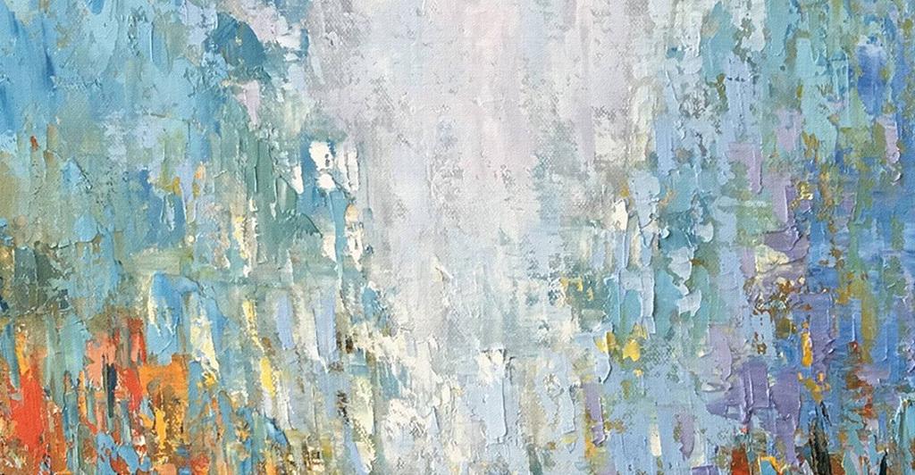 手绘红色蓝色雨中风景涂鸦抽象装饰画