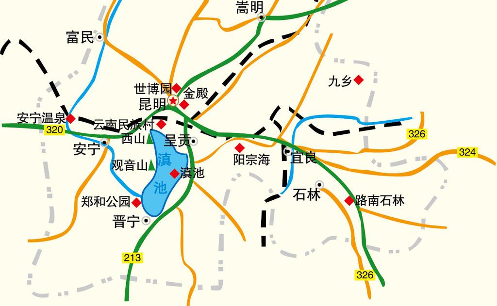 昆明市辖区地图高清大图