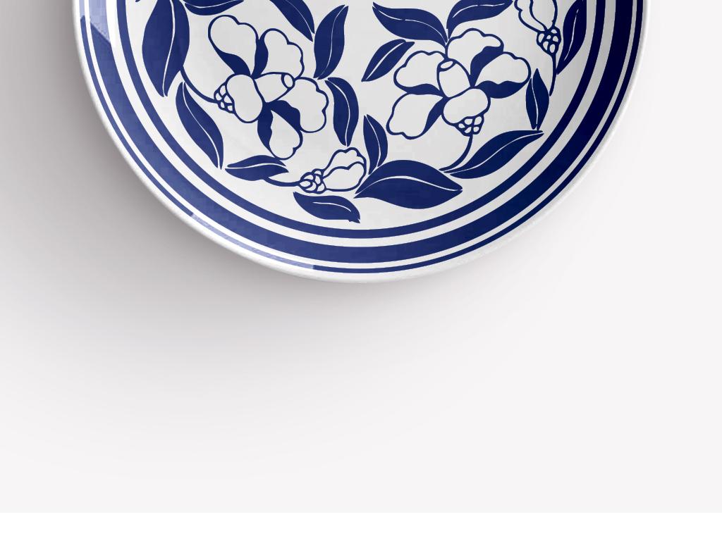中国传统手绘花纹青花瓷圆盘图案