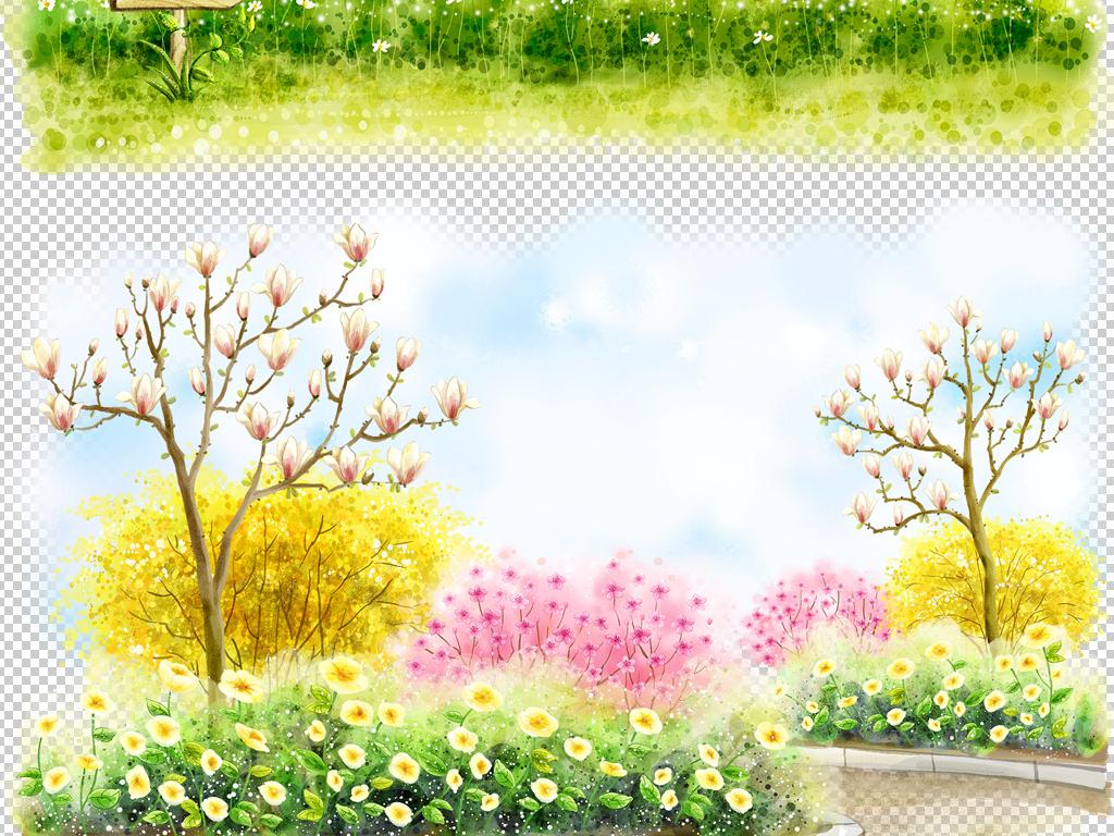 卡通手绘风景插画背景图片素材卡通唯美春天